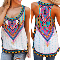Vintage Printed Ladies Tank Tops O-neck Sexy Women T Shirts Summer Beach Vest Casual Blusas Mujer 2016 Camisetas Plus Size XL