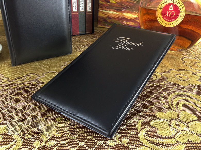 Black PU Leather Check Folder Restaurant Hotel Coffee Shop, Cheque Holder, Checkbook Holder