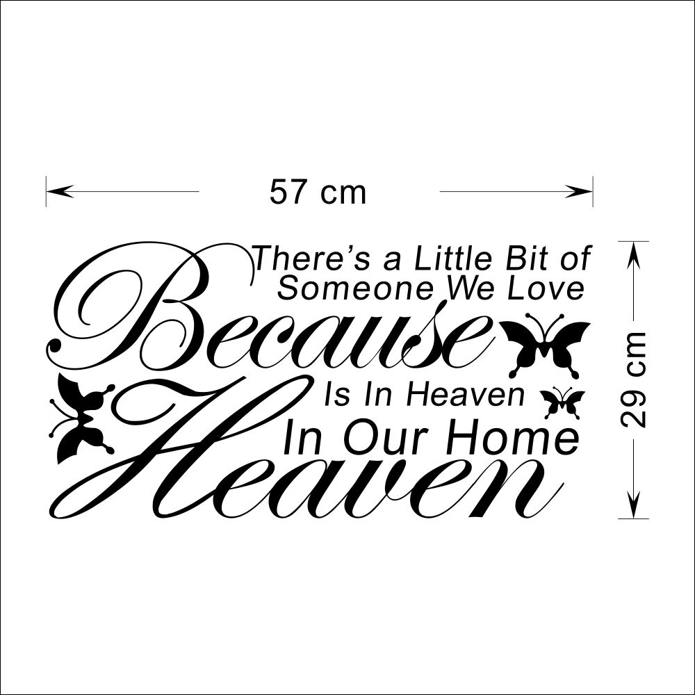 """Because Someone We Love In Heaven Heaven In Our Home"" Quotes and Sayings Wall Decals Bedroom Removable Wall Stickers Murals in Wall Stickers from Home"