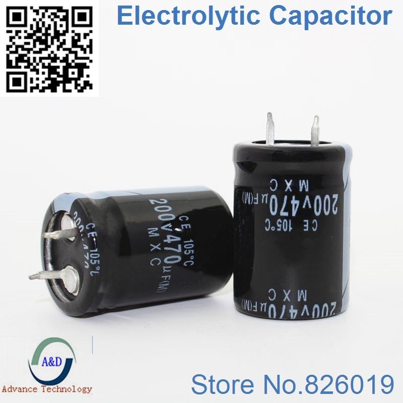 6pcs/lot 200V 470UF Radial DIP Aluminum Electrolytic Capacitors Size 22*40mm 470UF 200V Tolerance 20%