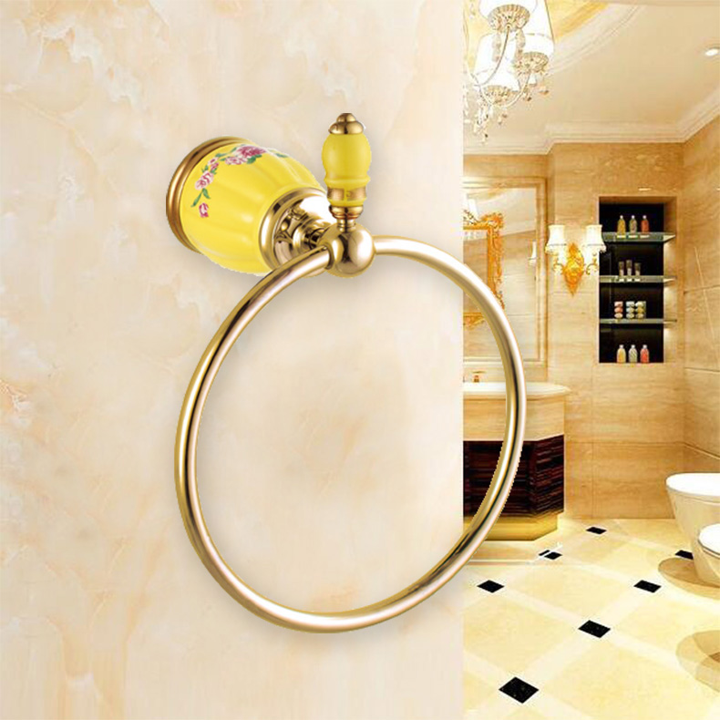 Luxury Brass Gold Towel Ring,Classic Towel Holder, Towel Bar Bathroom Accessories home decoration useful Free Shipping towel rings luxury crystal brass gold towel ring towel holder bath towel bar bathroom accessories home decoration useful hk 23