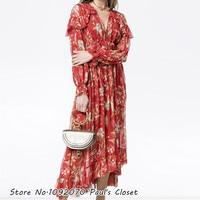 Women Deep V Neckline Ruffles Silk Corsair Iris Cape Dress In Red