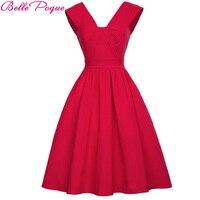 Belle Poque Red Big Size Vintage Dress Women Summer Autumn Sexy V Neck Sleeveless Elegant Rockabilly