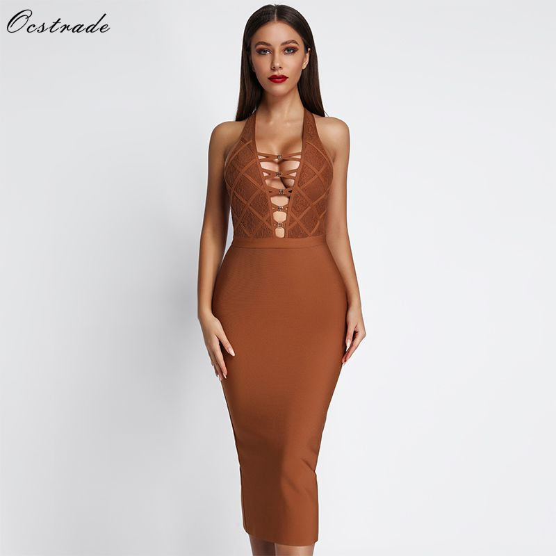 Ocstrade Summer Fashion 2019 lWomen s Midi Bandage Dress Bodycon Lace Dress Sexy v neck Backless