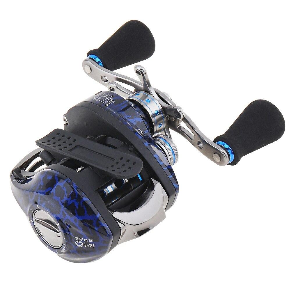 6.3:1 14+1 Ball Bearings Water Drop Wheel Bearings Double Brake Right/Left Hand Baitcasting Reel Fishing Wheel