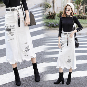Image 2 - Women Front Hole Denim Skirt 2020 New Fashion Spring Summer Long Skirts High Waist Casual White Jeans Skirt Plus Size 5XL