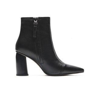 Image 2 - MORAZORA 2020 מכירה לוהטת קרסול מגפי נשים הבוהן מחודדת עור אמיתי מגפי פשוט עקבים גבוהים שמלת נעלי סתיו נעלי חורף
