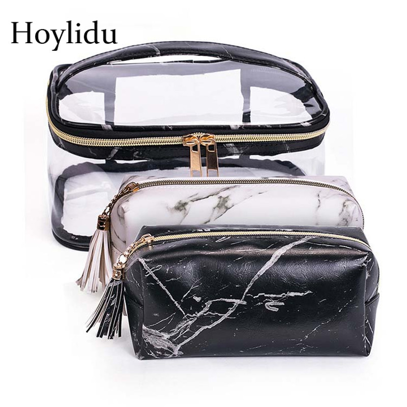 Transparent PVC Marble Cosmetic Bags Women Travel Makeup Brushes Clear Box Tassel Wash Pouch Waterproof Lipstick Toiletry Case