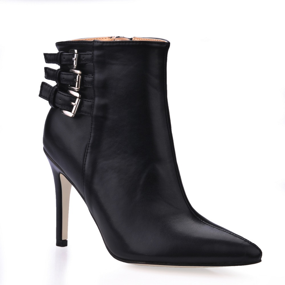 ФОТО brand 2016 new sexy pointed toe patent leather high heels shoes fashion metal buckle fall pumps ankle boots women comfortable