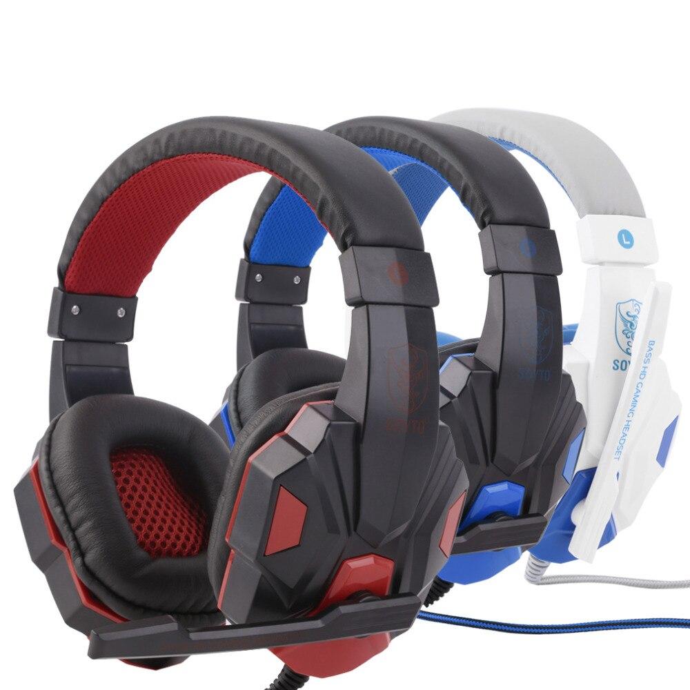 SY830MV longitud ajustable bisagras 3,5mm Surround Stereo Gaming Headset auriculares con micrófono para PC 3 Color para la opción