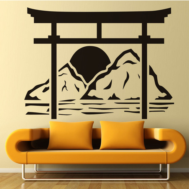 japanese torii wall decals sun rise removable vinyl adhesive wall