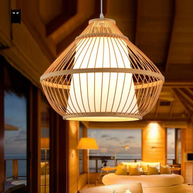 Aliexpress.com : Buy Bamboo Wicker Rattan Pyramid Pendant Light ...