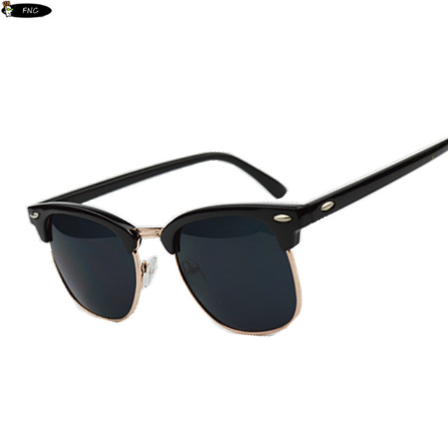 Half Frame Metal Sunglasses Men Women