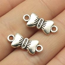 Charms 30pcs Bow Connector Antique Silver Tone 0.8x0.3 inch (19x8mm) Metal Jewelry Findings Diy Accessories(China)