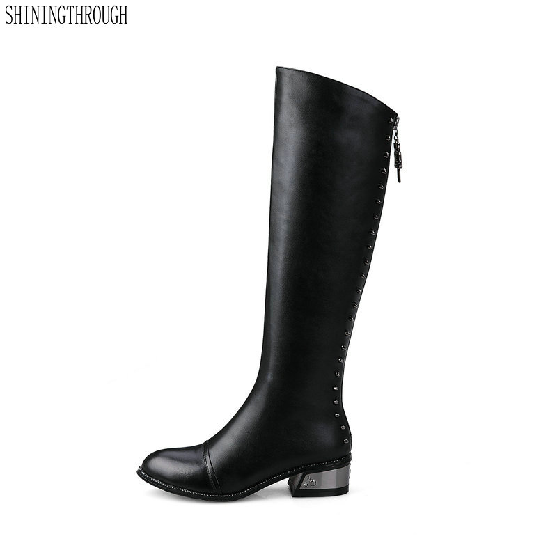 New 100% cow leather square heels women knee high western boots back zipper party wedding shoes woman black large size 43 inc new black women s size 8 sheer floral lace back zipper crewneck blouse $69