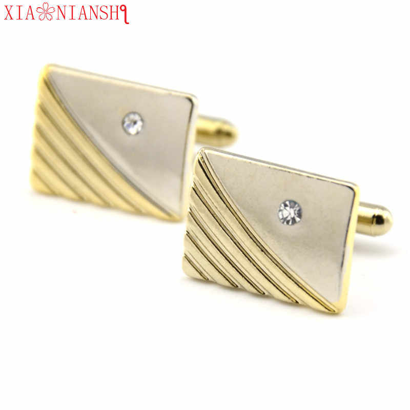 XIAONAINSHI Cuff links Good High Quality silver necktie clip for tie pin for men White Crystal tie bars cufflinks tie clip set