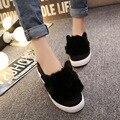 Enredaderas Zapatos de Plataforma Mujer Orejas de Gato Resbalón En Zapatos de Mujer Zapatos de Las Señoras de Las Mujeres Pisos 2016 Tenis Femenino