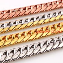 "Customized Size 7-40"" Huge Heavy 316L Stainless Steel Silver Rose Gold Cuban Chain Mens Necklace&Bracelet 13/16MM Top Design(China)"