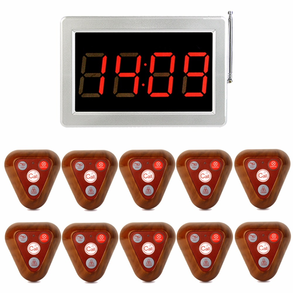 Restaurant Wireless Call Pagers Waiter Calling Paging System 999 Channel Receiver Host Four-Key Wooden Button Transmitter F3286F wireless service call bell system popular in restaurant ce passed 433 92mhz full equipment watch pager 1 watch 7 call button