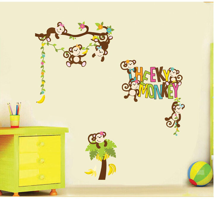 4 Cute Monkeys Wall Decals Sticker Nursery Decor Mural: Wall Stickers Decals Cute Cheeky Monkey Baby Room