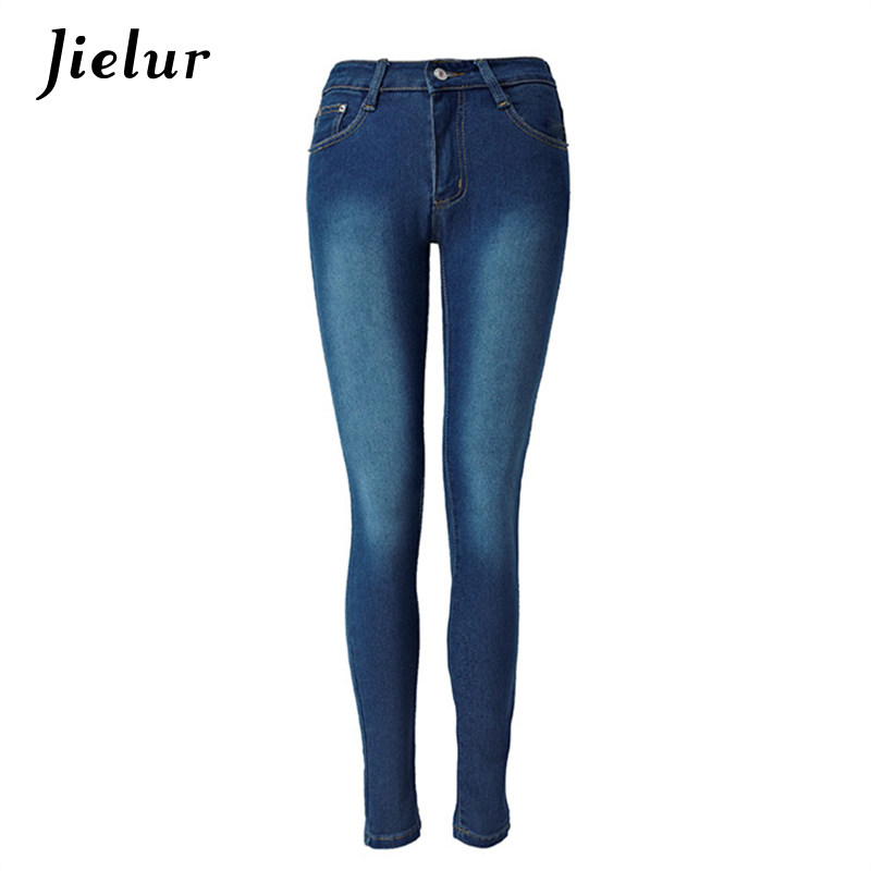 a4aff8aa370 Europe 2019 New Fashion Leisure Dark Blue Jeans with High Waist Stretch Slim  Pencil Pants Female