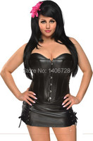 Womens sexy plus size corset Shaper Mini Skirt Dress P006 Sexy Women Strapless Black Faux Leather Overbust Corset Dress