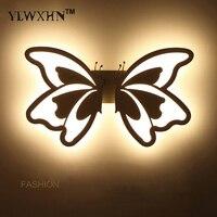 Oprawa 2017 Cienka Lampa Abajur Nowoczesna Moda Doprowadziły Kurtyny Ściany 24 w Oświetlenie Wewnętrzne Biały Motyl Akrylowa Klosz Światła