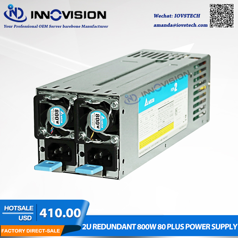 High efficiency saved energy 2U redundant 800W 80 plus power supply for2U/3U Server chassis