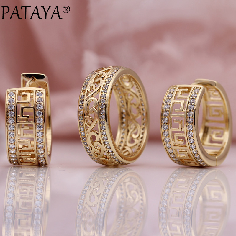 PATAYA New 585 Rose Gold Exquisite Hollow Natural Zircon Dangle Earrings Rings Sets Women Wedding Luxury Party Jewelry Set Gift yoursfs dangle earrings with long chain austria crystal jewelry gift 18k rose gold plated