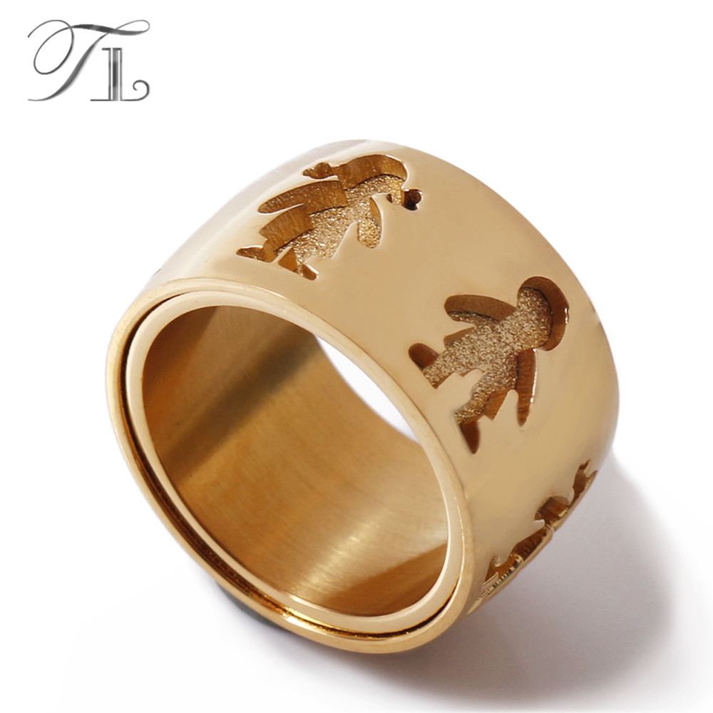 TL High Quality Stainless Steel Engagement Ring Wide&Thick Matte Little Boy & Girl Pattern Finger Rings for Family Love Jewelry