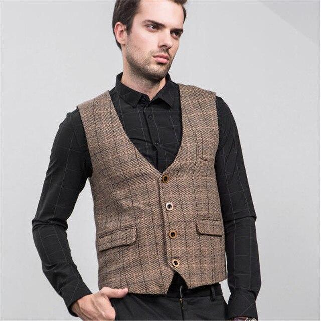 2017 Mens Suit Vest Spring Autumn Fashion Retro Plaid Waistcoat Slim Fit British Style Jacket Sleeveless Dress Vests A1611