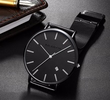 KASHIDUN Uni-sex Lover's Wrist Watch Waterproof Easy Read Simple Army Watch Hook-buckle Mesh Steel Bracelet For Men and women