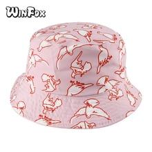 Winfox 2018 New Fashion Summer Reversible Pink Peace Dove Bird Bucket Hats Gorro Pescador Caps For Women Girls