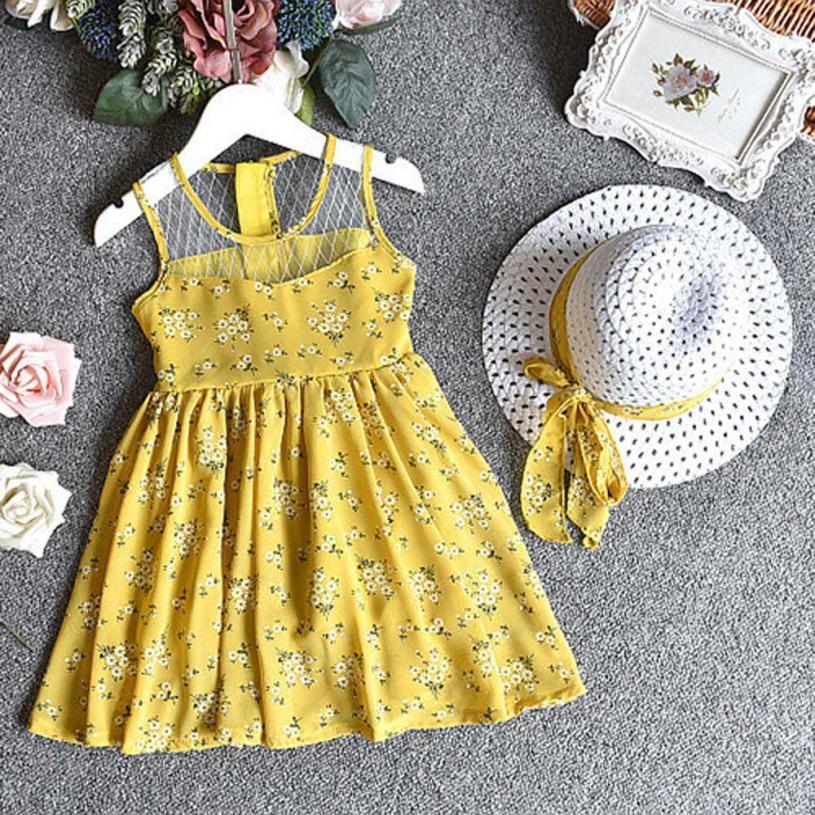 2PCS Baby Girl Outfit Clothes Chiffon Floral Vest Dress+Sun Hat Set