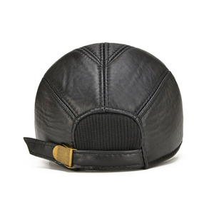 Image 4 - [AETRENDS] koyun derisi deri kap kış şapka erkekler için hakiki deri beyzbol şapkası kulaklı baba şapka şoför şapkası Casquette Z 5295