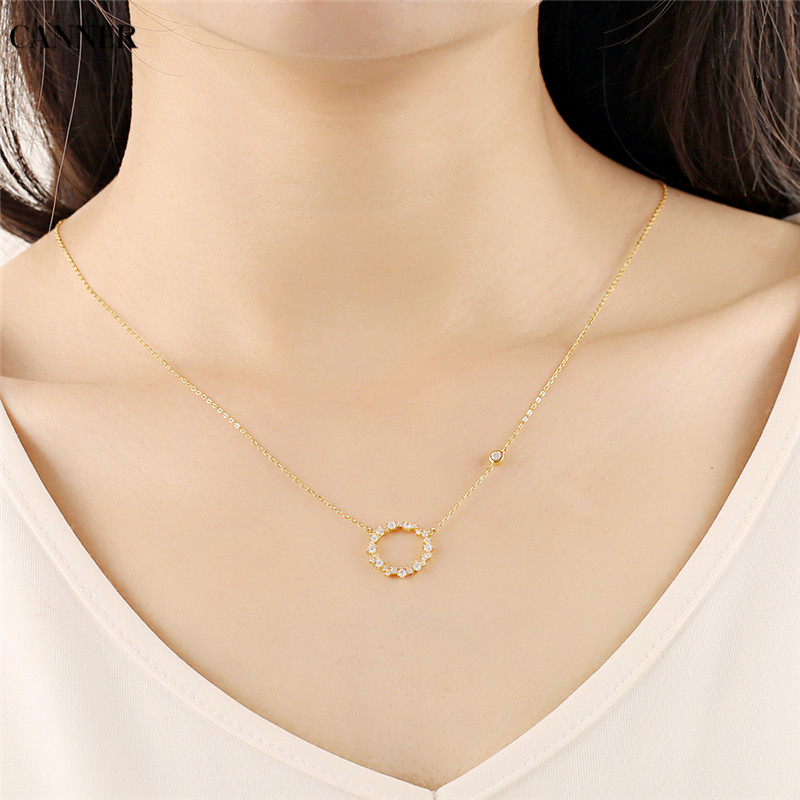 Canner Geometric Round Circle Pendant Necklaces Minimalism 925 Sterling Silver Zircon Crystal Necklace Women Fashion Jewelry
