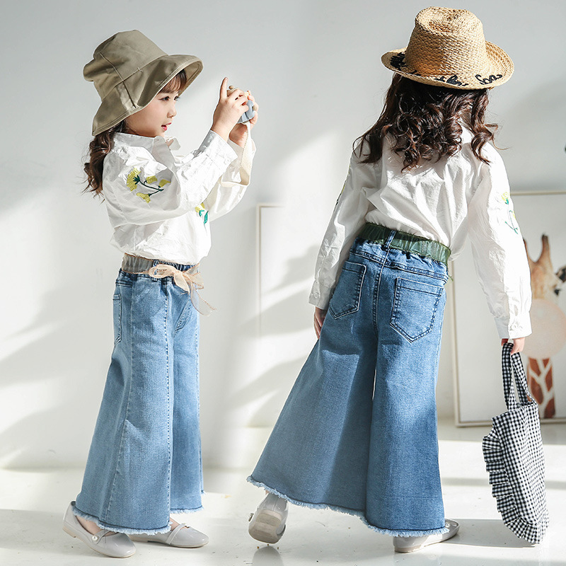 2018 Children's Garment New Children Clothing Pants Girl Wide Leg Bell-bottoms Children Baby Girls Kids Jeans Pants wide leg grid crop pants