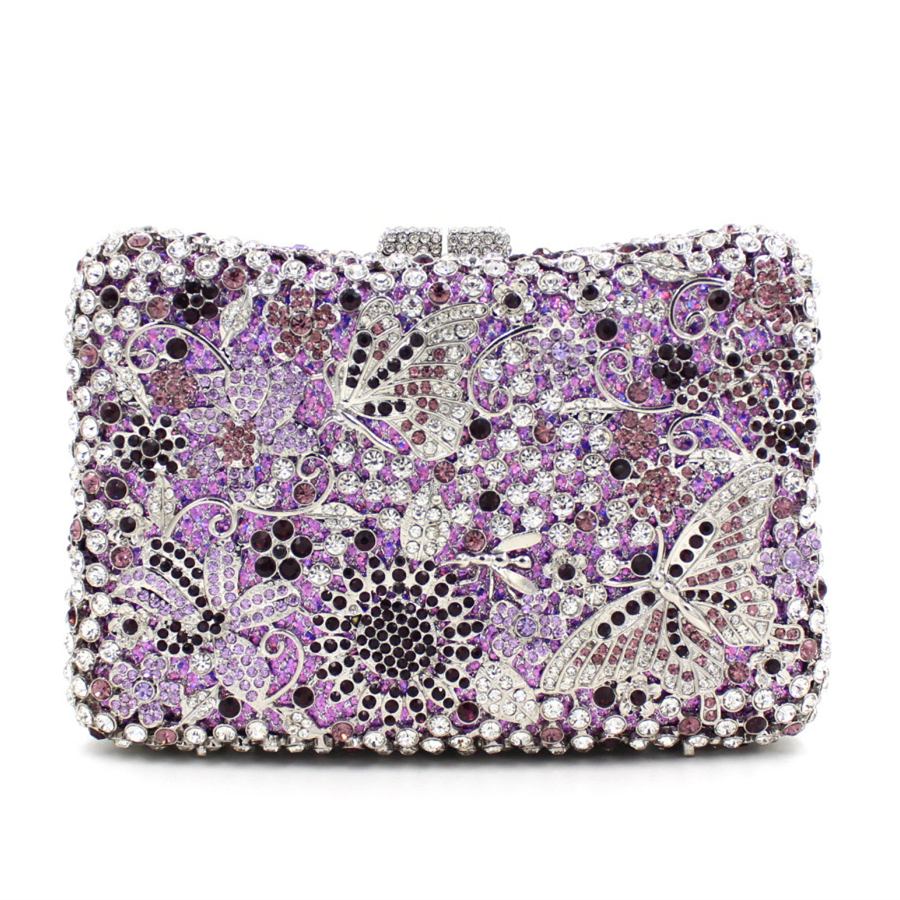 Changjia Rushed Special Offer Flap Jacquard Supply Europe 2017 High-grade Butterfly Diamond Flower Evening Bag Full Dinner Hand europe new upscale butterfly diamond evening bag full diamond party handbag clutch