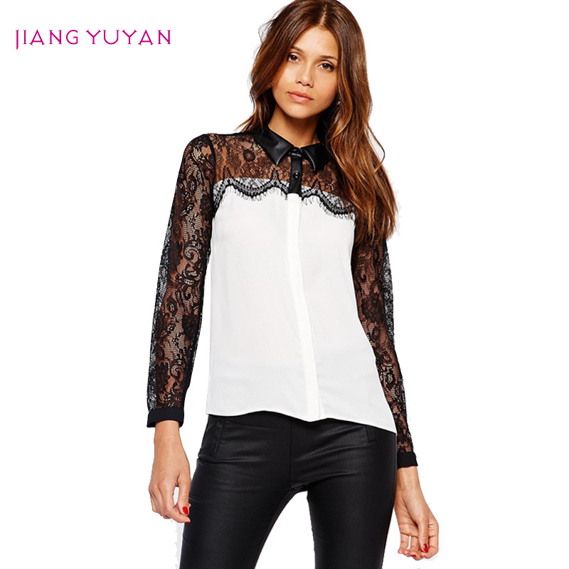 Blusas de encaje negro blanco mujeres para mujer de la