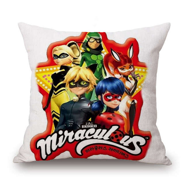 Cushion Covers Miraculous Ladybug Marinette Adrien Cat Noir Car Bed Cushion Cover Dakimakura for Home Decoration Gifts for Kids
