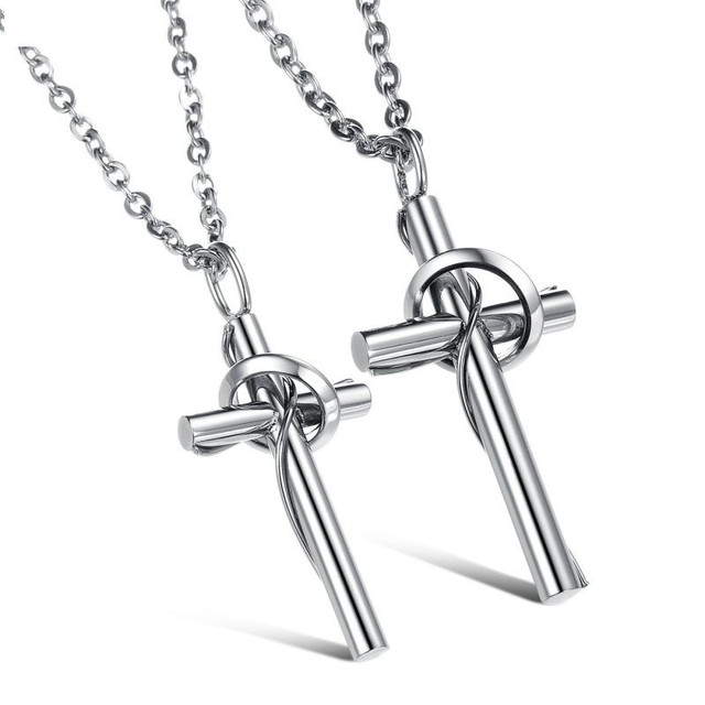3170f090a8fb1 US $4.99 |Never Darken 316L Stainless Titanium Steel Jewelry His and Hers  Cross Necklaces Set For Couple DLQ-in Pendant Necklaces from Jewelry & ...
