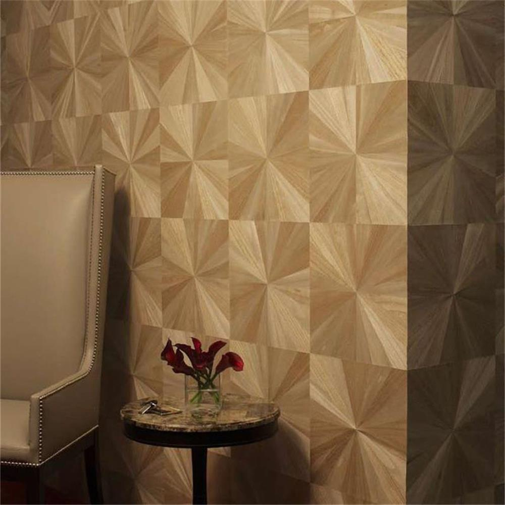 2018 Luxury Brown Sun flower Natural Wood Veneer Wallpaper New wall designs for home and working spapce