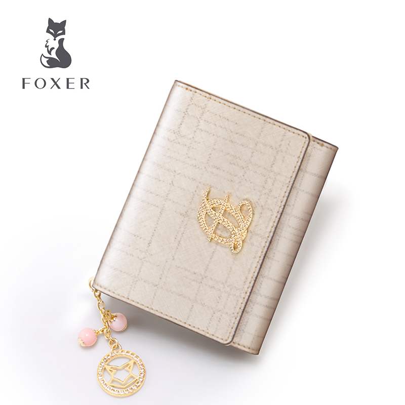 FOXER Brand New Women Cow Leather Short Style Wallet Luxury Female Purse Girl Card holder & Wallets 2015 new brand female elegent style 100