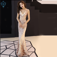 Ameision Shining Gold Deep v neck Mermaid Evening Dress Fashion Slim Sleeveless Hollow Long Party Dresses Vestido