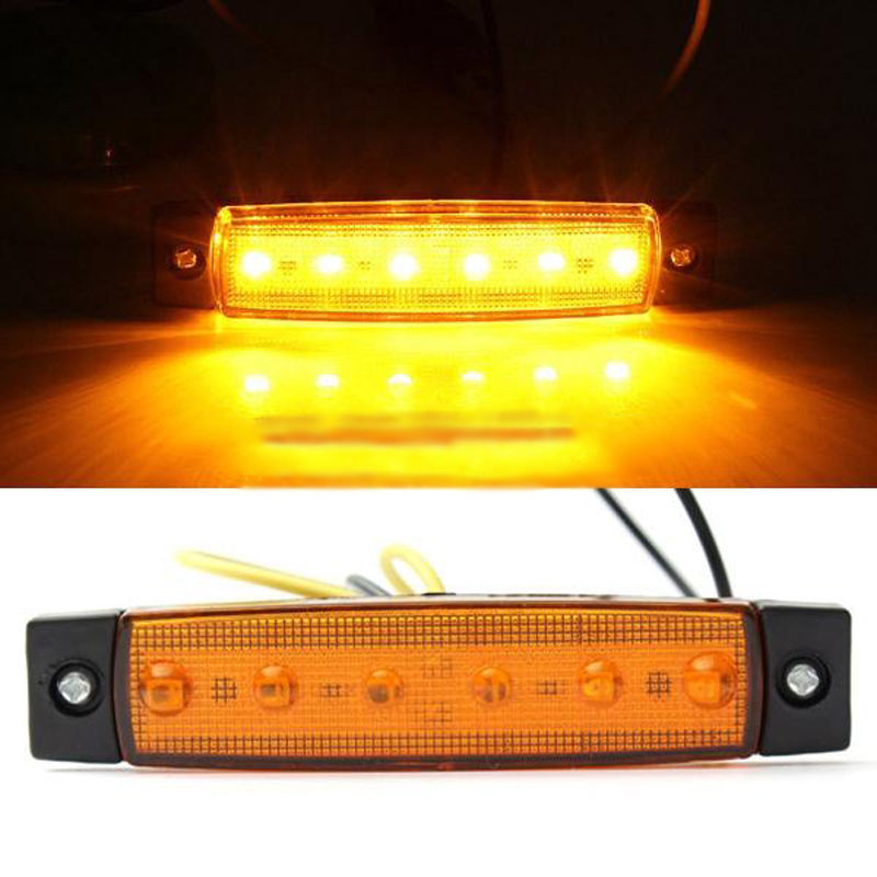 1pc 6LED Truck Taillight Lamp High Quality DC 12V Truck Boat BUS Trailer Side Marker Taillight Indicators Yellow Light Lamp