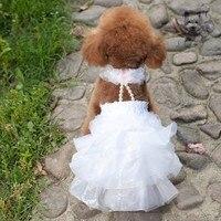 Perro de mascota vestido rizado del perrito perrito de boda del partido de lujo vestidos vestido de novia para bichon poodle oso de peluche perro, chihuahua, schnauzer