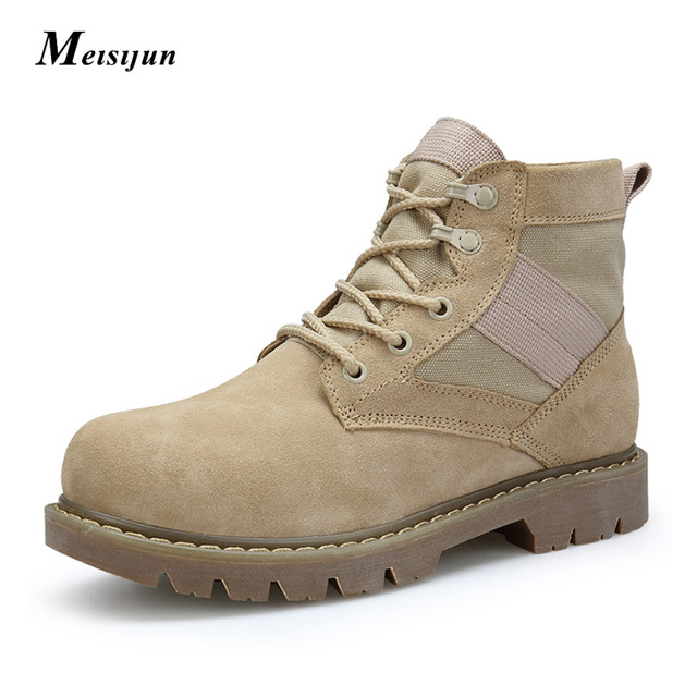 Men winter boots suede genuine leather work Tactics hunting boots couple martin boots high help tooling boots Size 38-44
