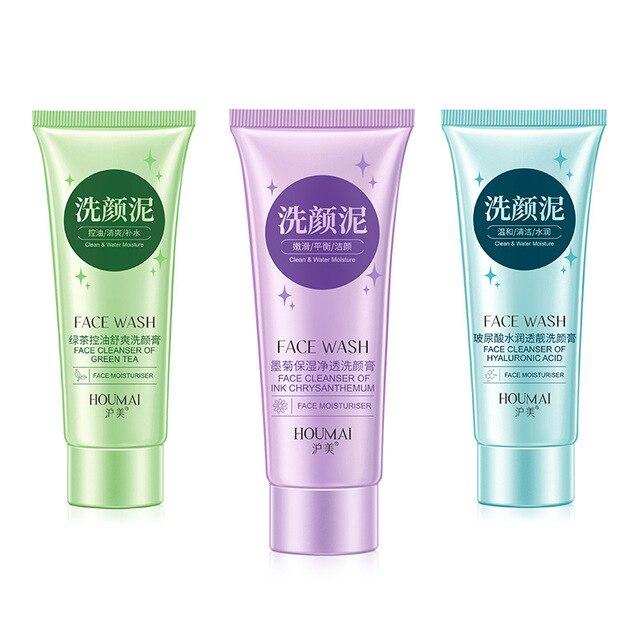 Crisântemo/Chá Verde/Ácido Hialurônico Limpador Facial Espuma de Limpeza Lavar o Rosto Hidratante Nutritivo Anti-Manchas Marcas