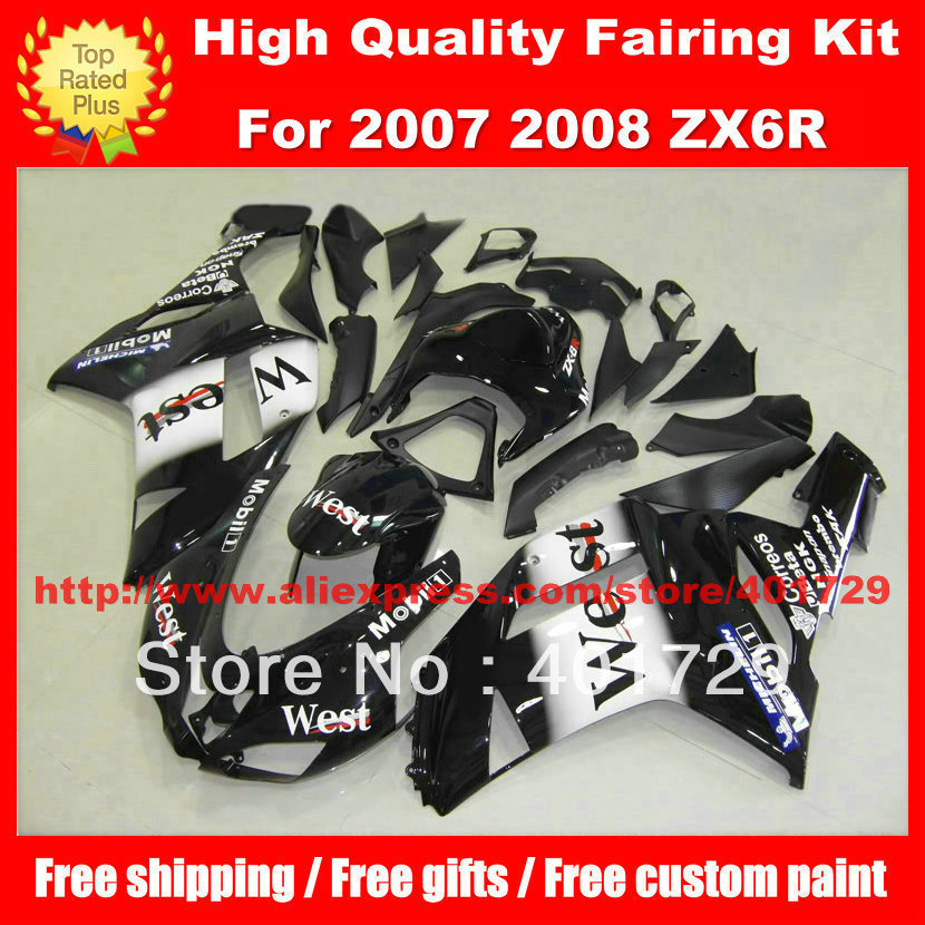 Motorcycle body work kit for Ninja 2007 2008 ZX6R ZX 6R 07 08 ZX-6R 07 08 WEST HIGH GRADE FAIRING SET