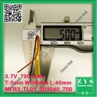 3.7V 700mAh battery 503040 Lithium Polymer Rechargeable Battery Li Po li ion For bluetooth electronics GPS Mp3 DVD Camera PSP